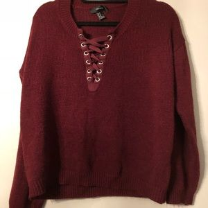 Burgundy Forever 21 Lace-Up Sweater